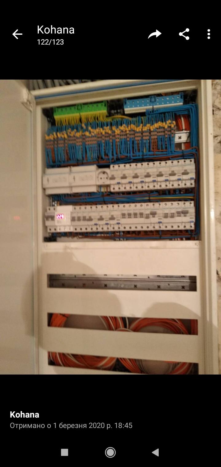 """Фото 1 щит под систему """"умный дом"""". Вся комутация производилась прямо в щите (насколько помню 127 линии). Переделка. см. 1+2"""