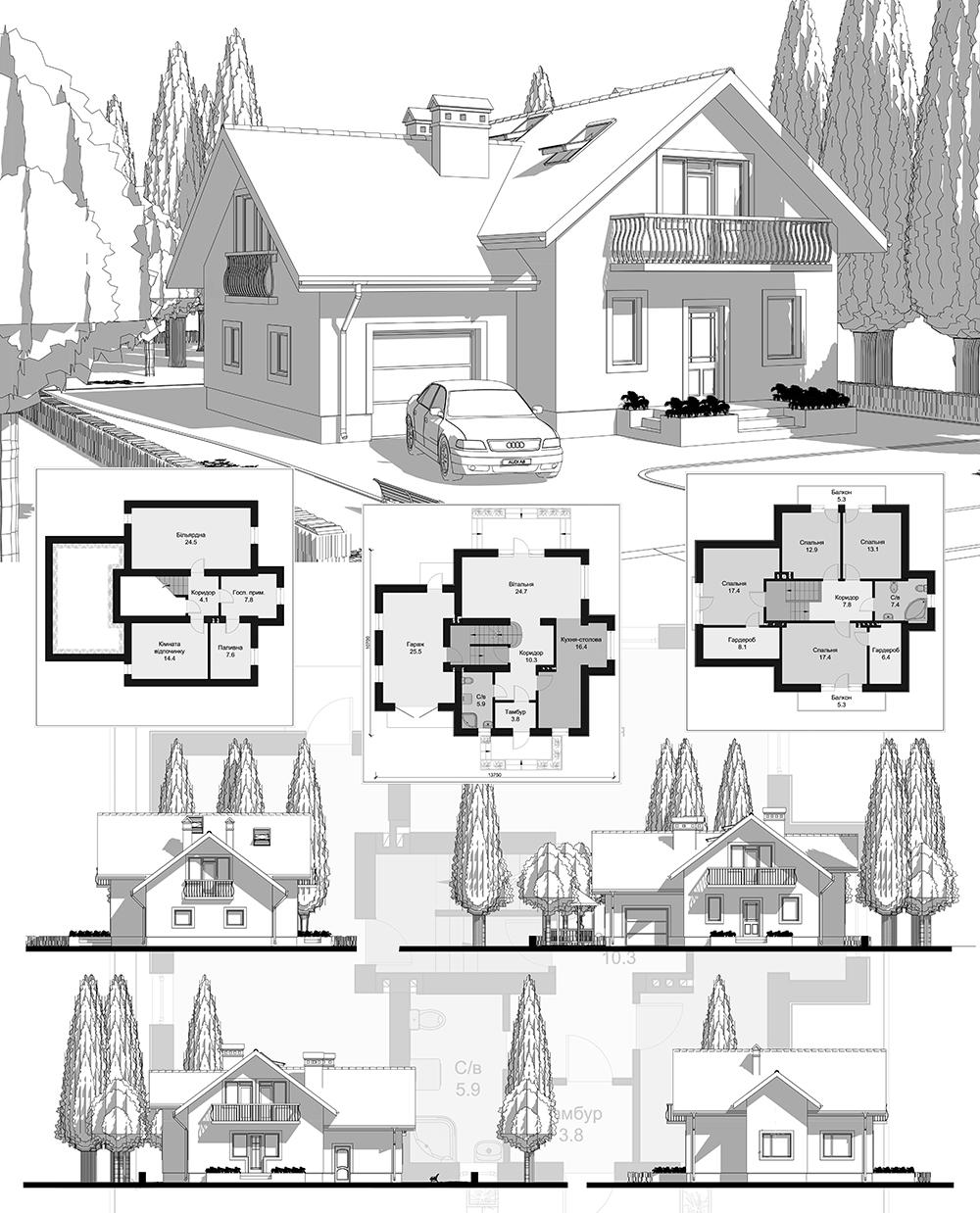 Фото Проект індивідуального одноповерхового житлового будинку з вбудованим гаражем, з мансардою та підвалом. Виконано стадію ЕСКІЗ; АРХІТЕКТУРНІ РІШЕННЯ; КОНСТРУКТИВНІ РІШЕННЯ