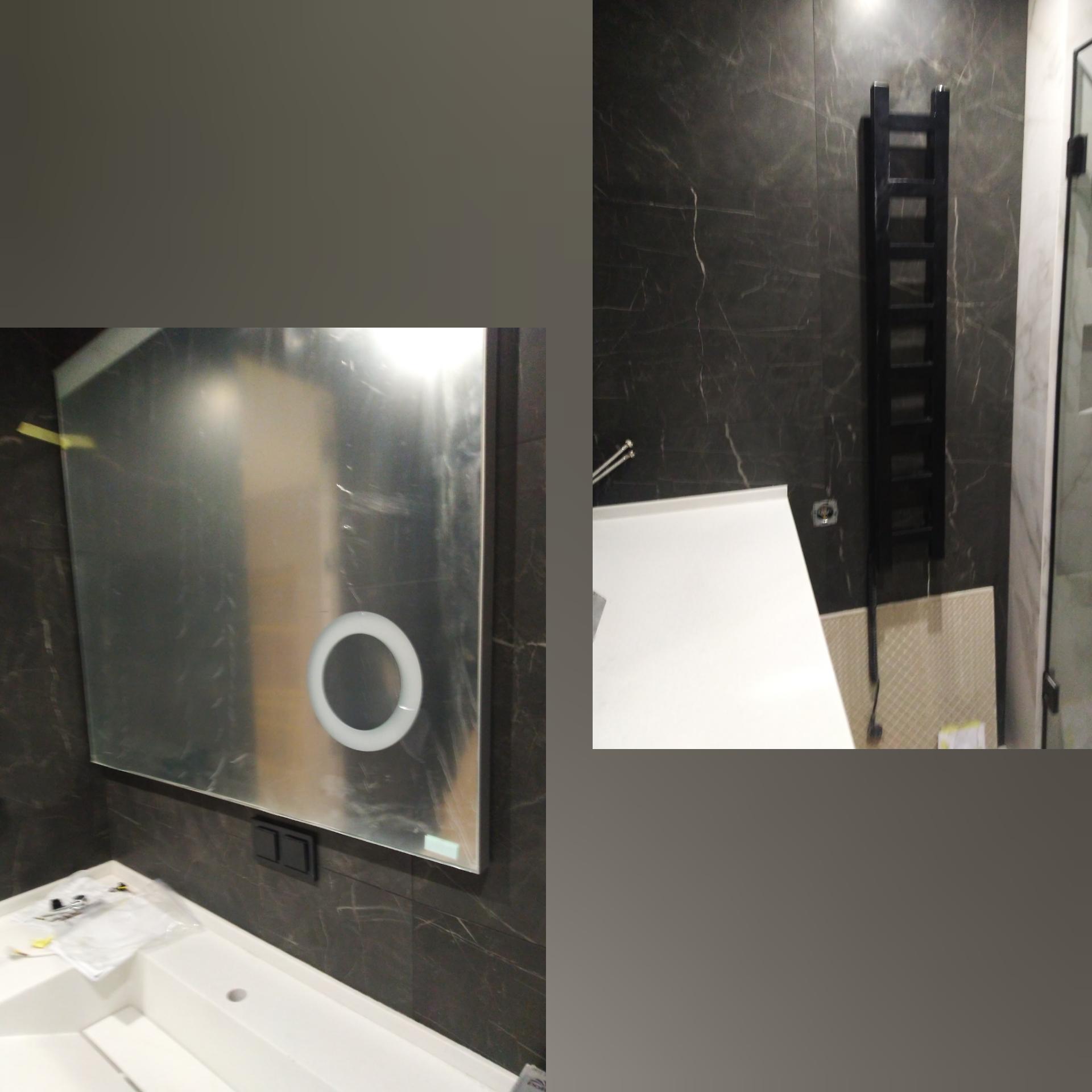 Фото Установка полотенцесушителя и зеркала на керамогранит