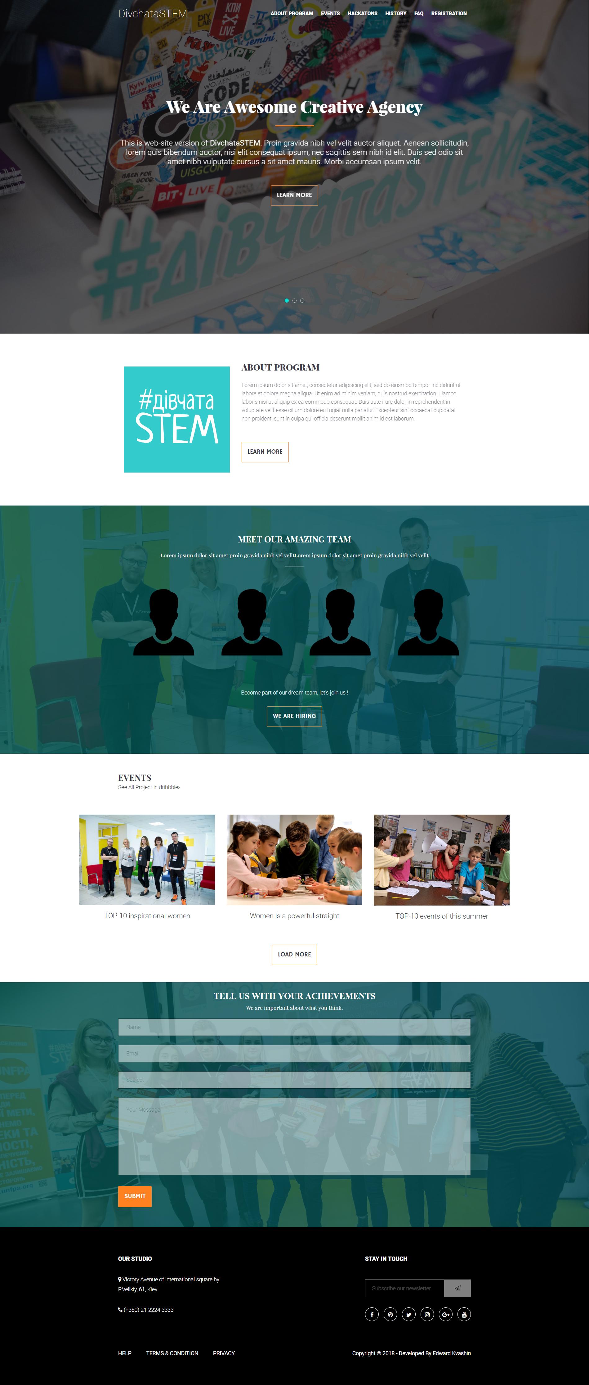 Фото Corporative Page | DivchataSTEM Задание: Разработать дизайн веб-сайта организации. Исполнение: предоставлено 6 макетов, по итогам которого был выбран один избранный, доработка деталей в макете. Затрачено времени: 4 дня на разработку дизайна и утверждения заказчиком.