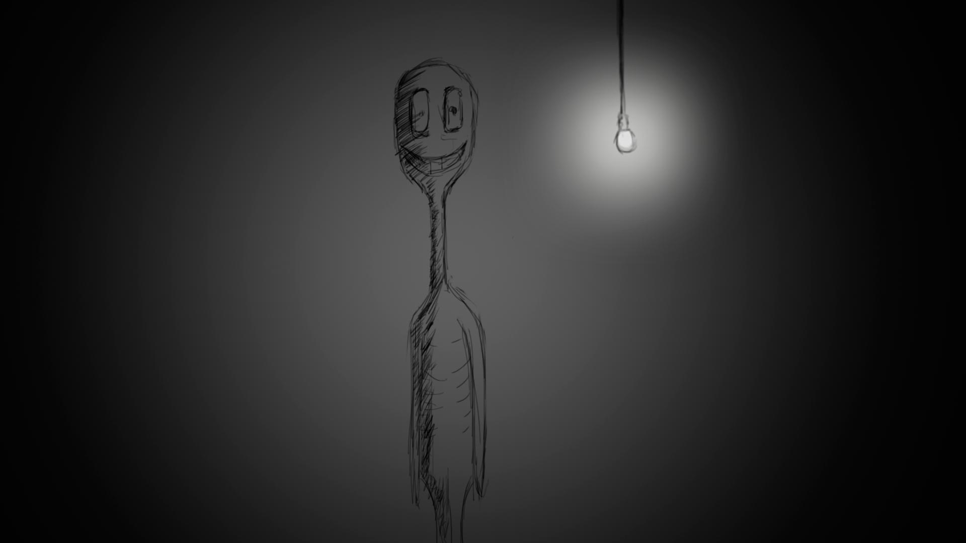 Фото Хоррор-композиция мутанта в тёмной комнате с лампочкой. Выполнена в Photoshop Времени затрачено: 30мин.