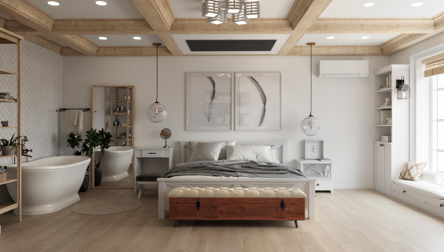 Фото Дизайн спальни в скандинавском элитном стиле