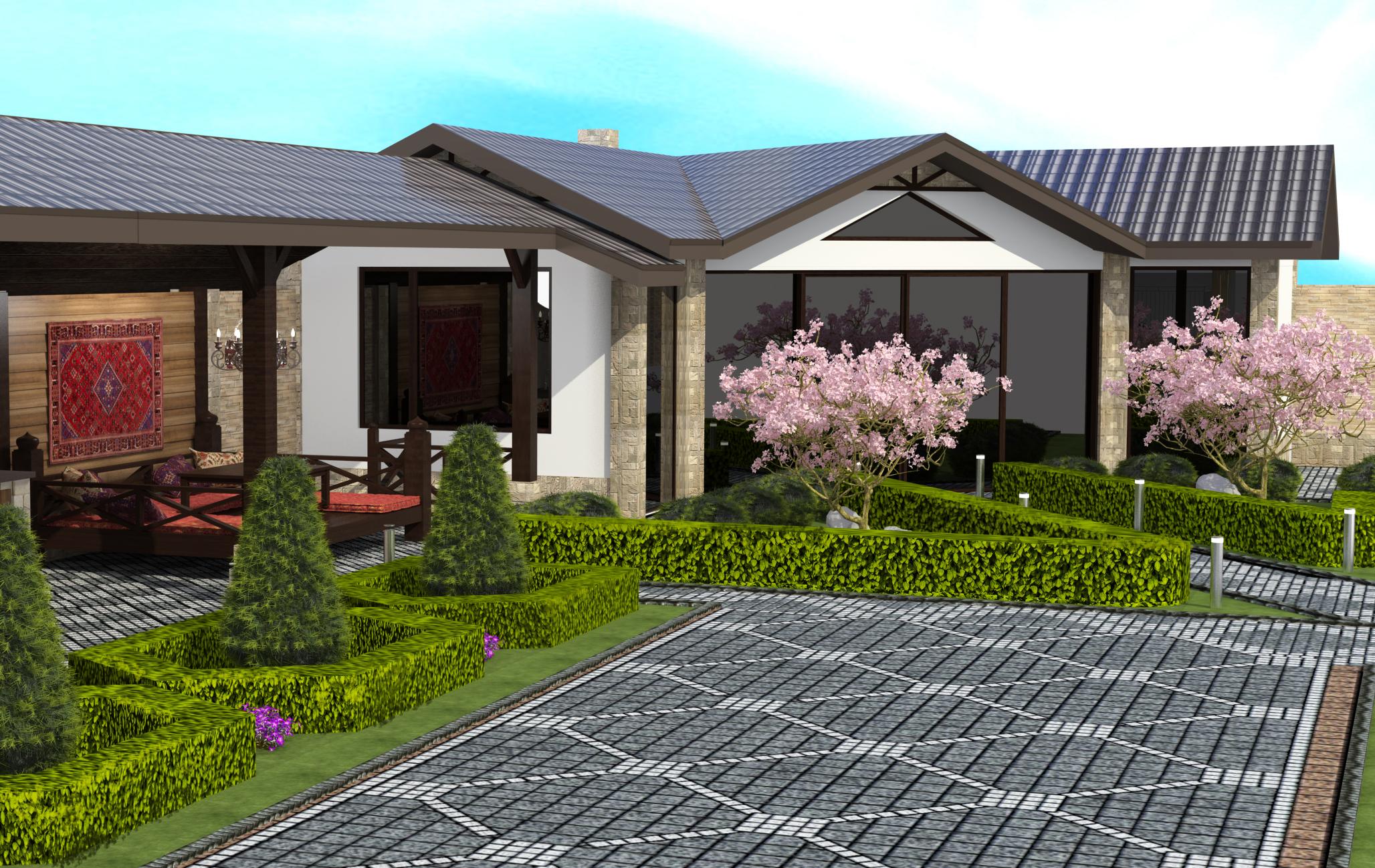 решение дизайн фасада и ландшафта фото отеле санрайз семьёй
