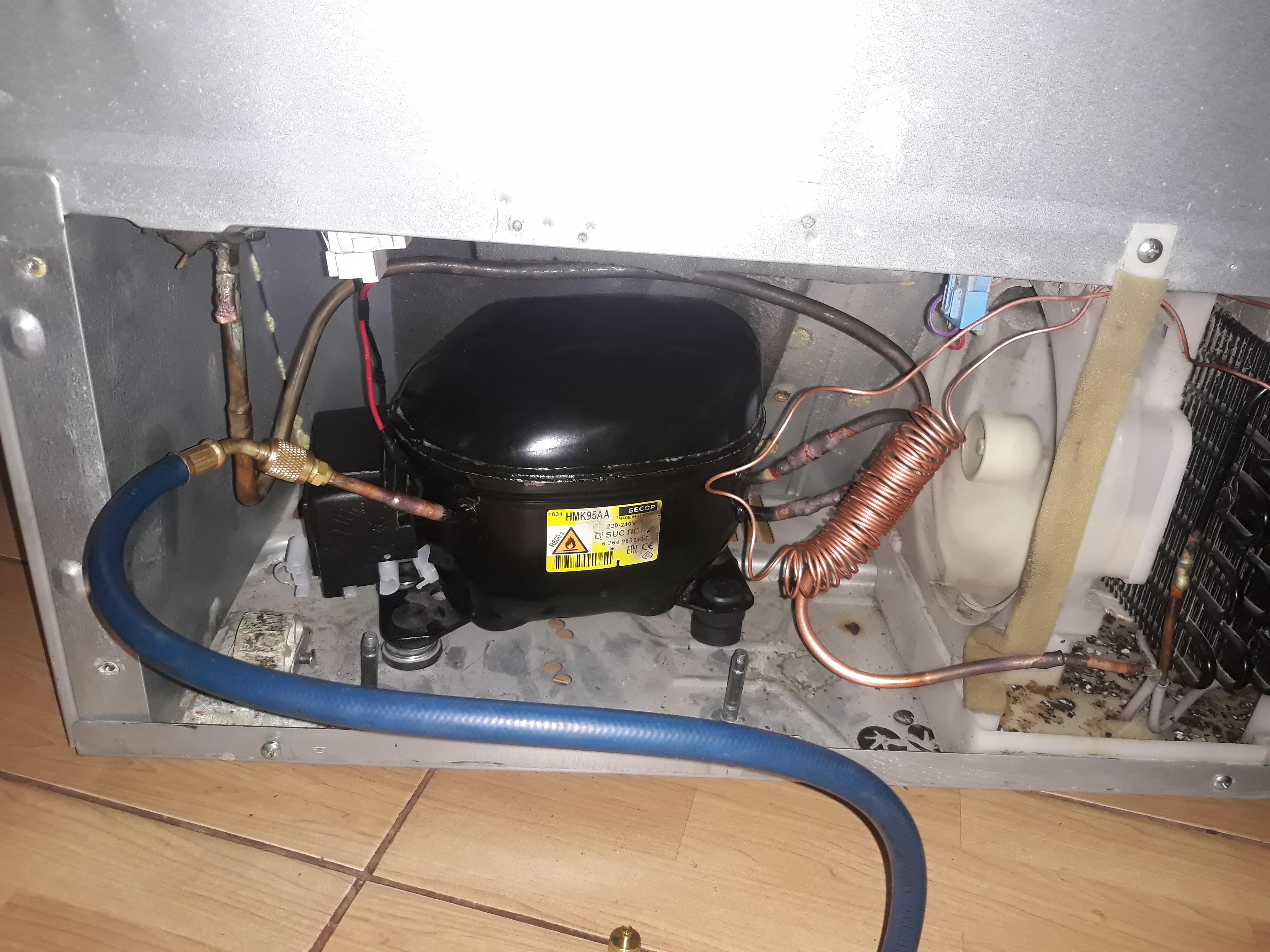Фото Замена компрессора холодильника LG . Замена Капилярной трубки.  Перевод платы с линейного на обычный компрессор