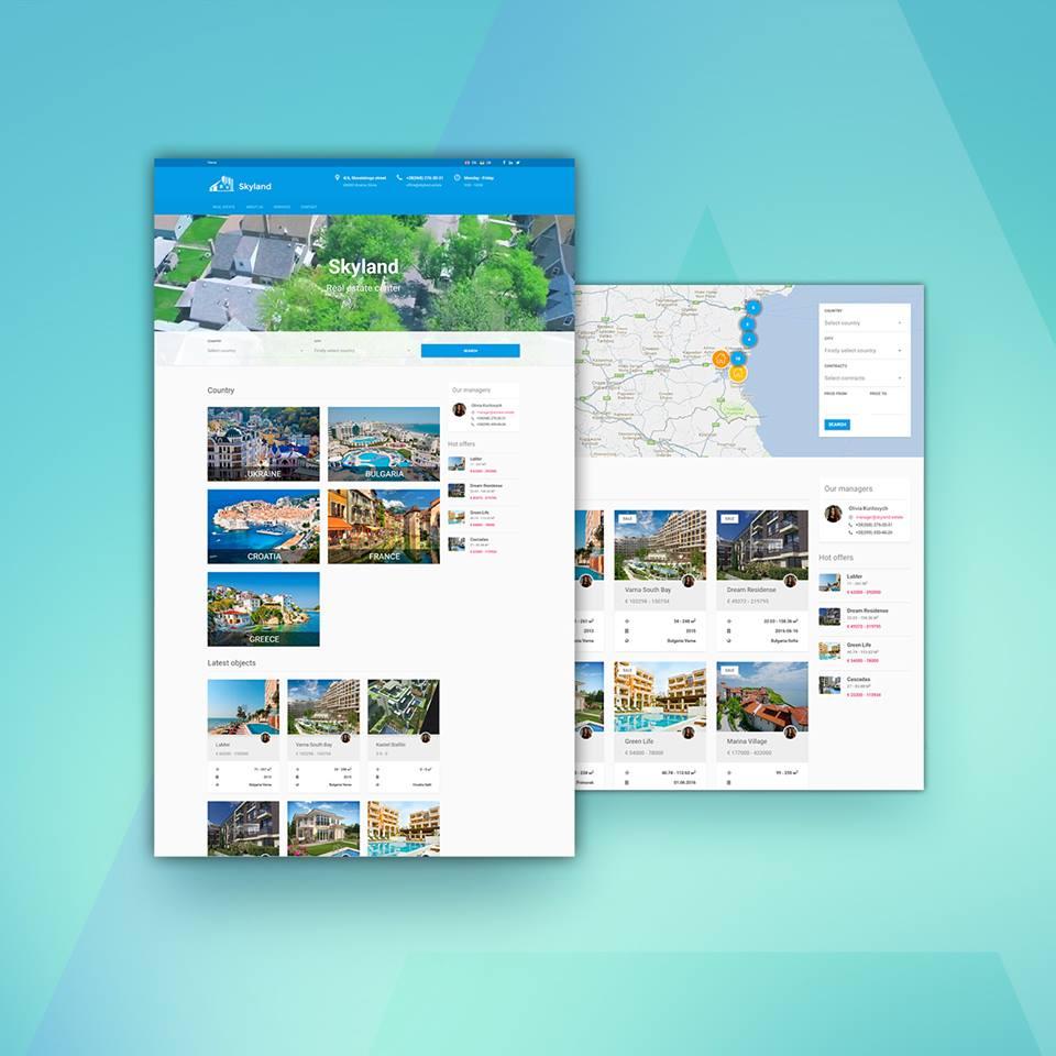 Фото Заказчик центра недвижимости Skyland получил полный спектр услуг по созданию дизайна, по вёрстке, по программированию, по наполнению и размещению сайта в Интернете. То есть полностью рабочий, заполненный и уже функционирующий в Интернете сайт.