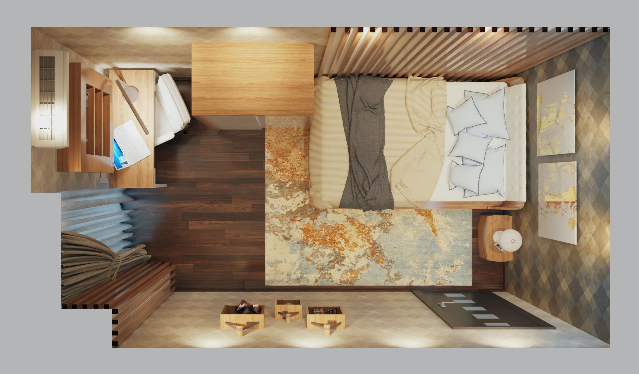 Фото 3D план спальной комнаты.  Дизайн интерьера маленькой спальни для супружеской пары.
