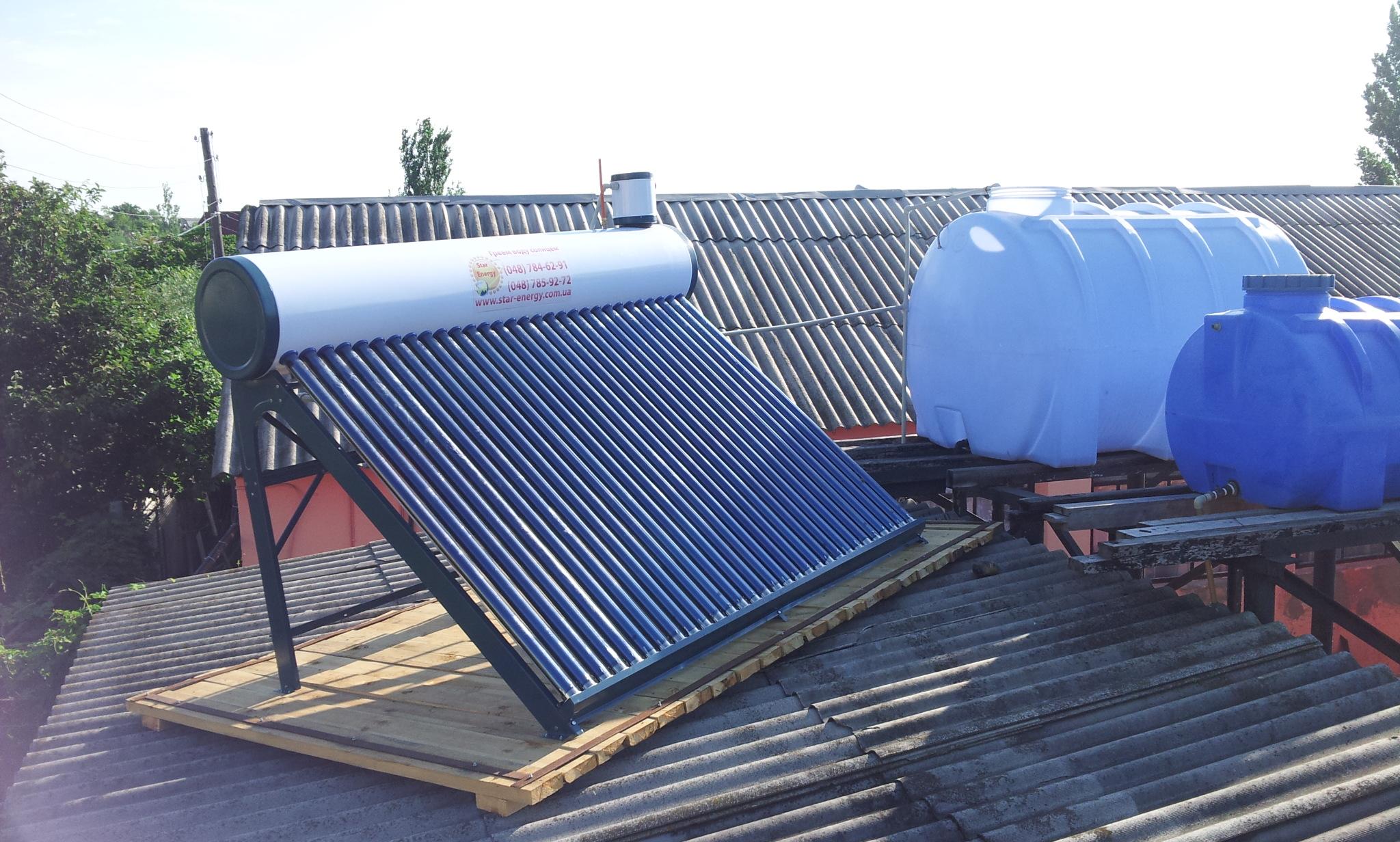 Фото Установил в Затоке солнечный  коллектор нагрев воды  для душевых.