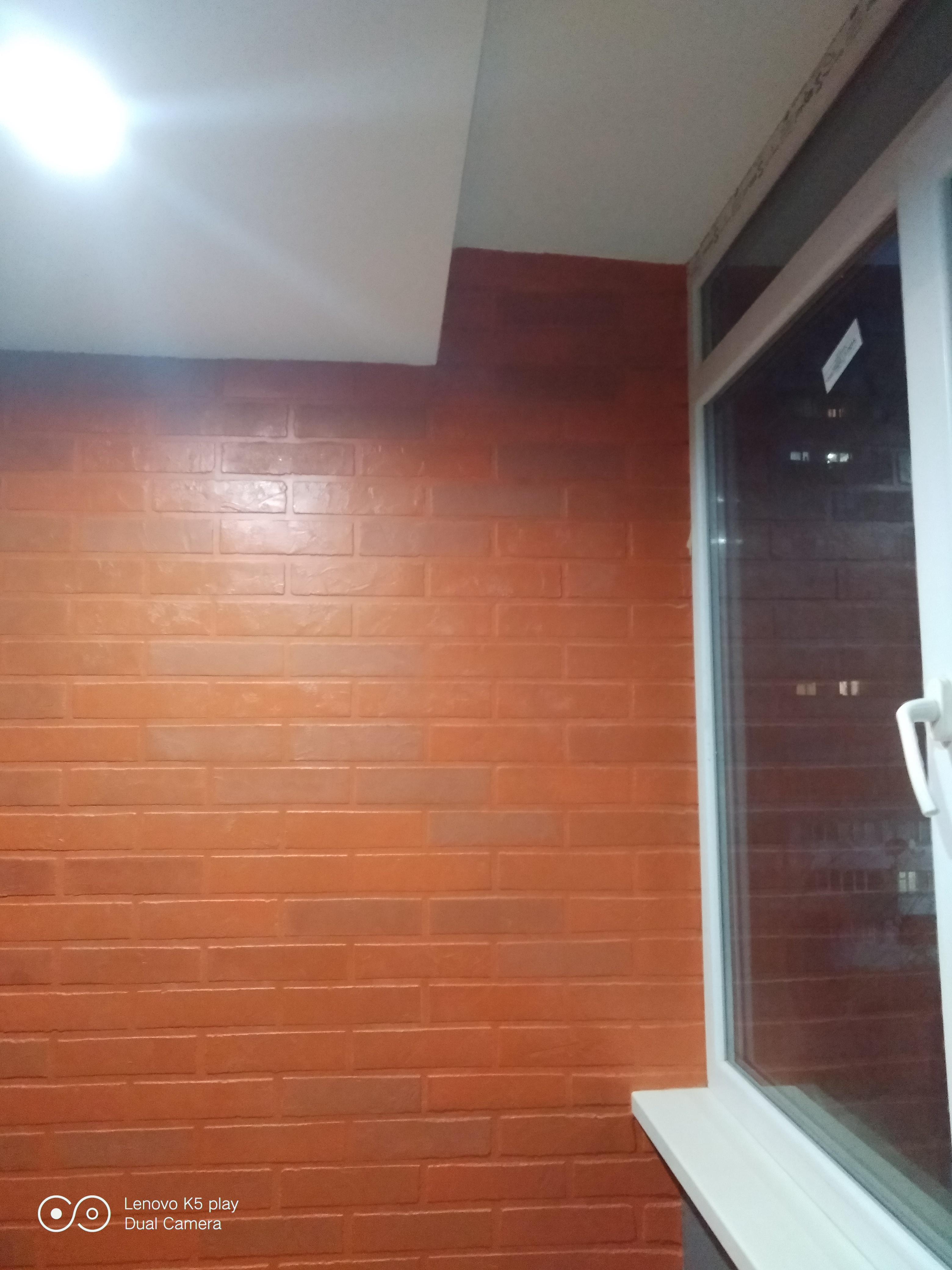"""Фото Декорирование стен из шпатлевки """"под кирпичную кладку"""""""