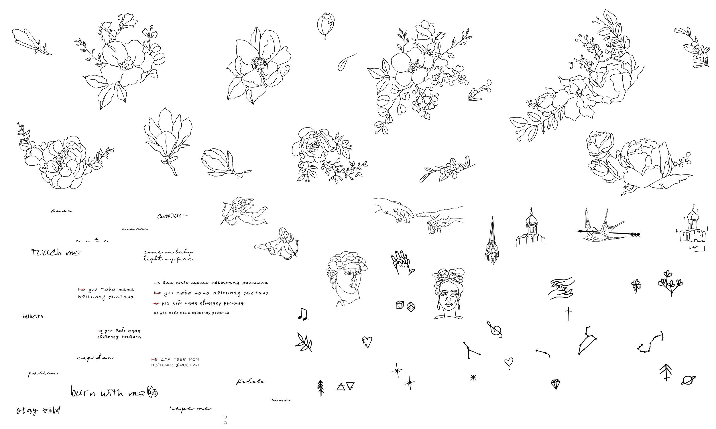 Фото Лінійні ілюстрації для нижнбої білизни