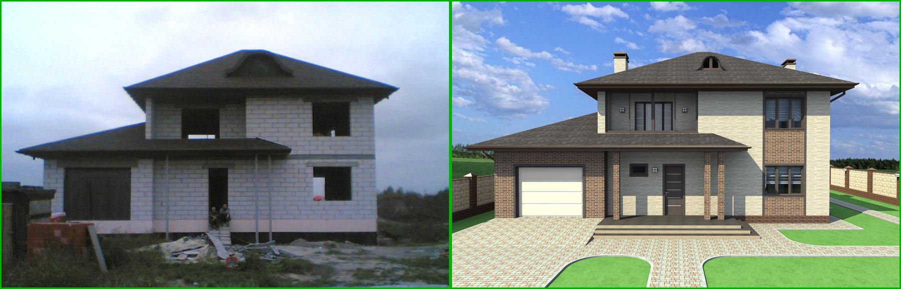 Фото Дизайн фасада дома 70 грн./м.кв (дизайн-проект экстерьера). 2
