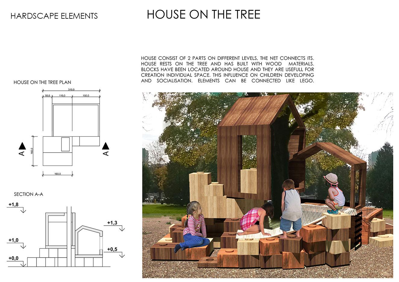 Фото Курсовой проект детской площадки. 2D чертежи и 3D визуализации.