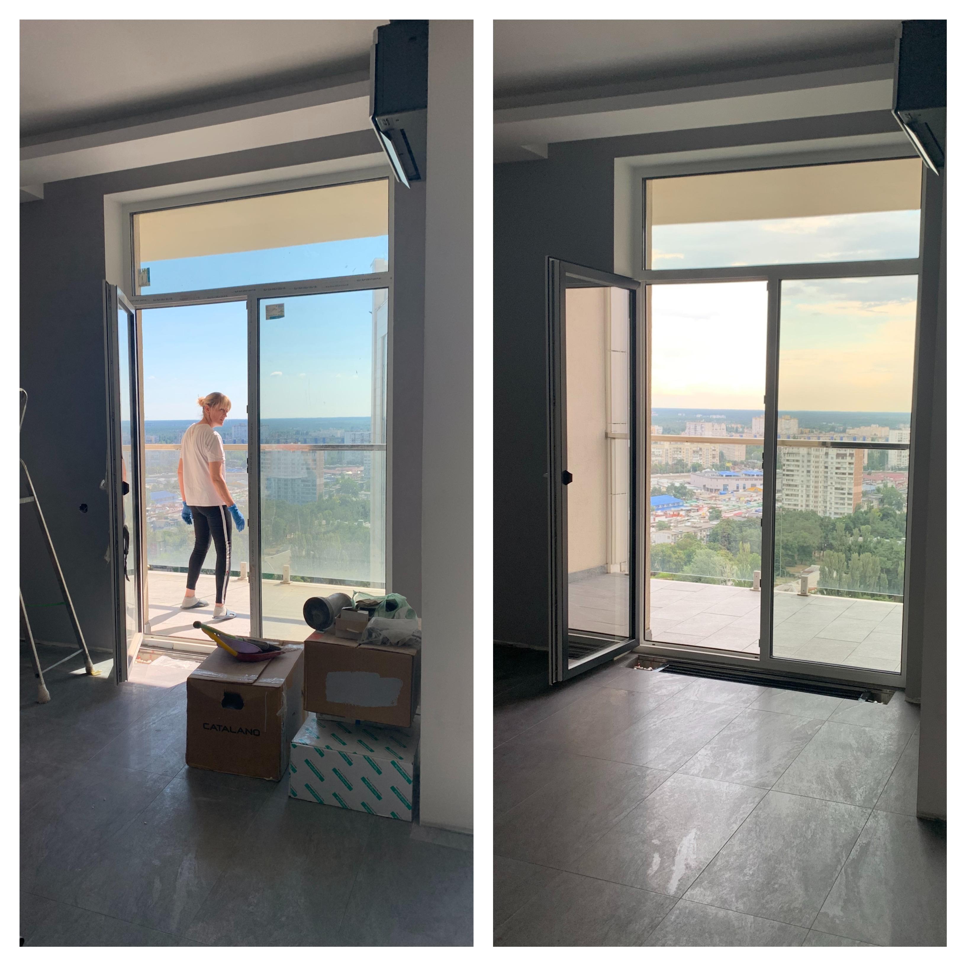 Фото Уборка после ремонта 2-х уровневой Квартиры с мытьем панорамных окон и балкона.  Максимальное удаление пыли и других строй загрязнений. 98 квадратов. Работало 5 специалистов. Уборка тщательная, под ключ