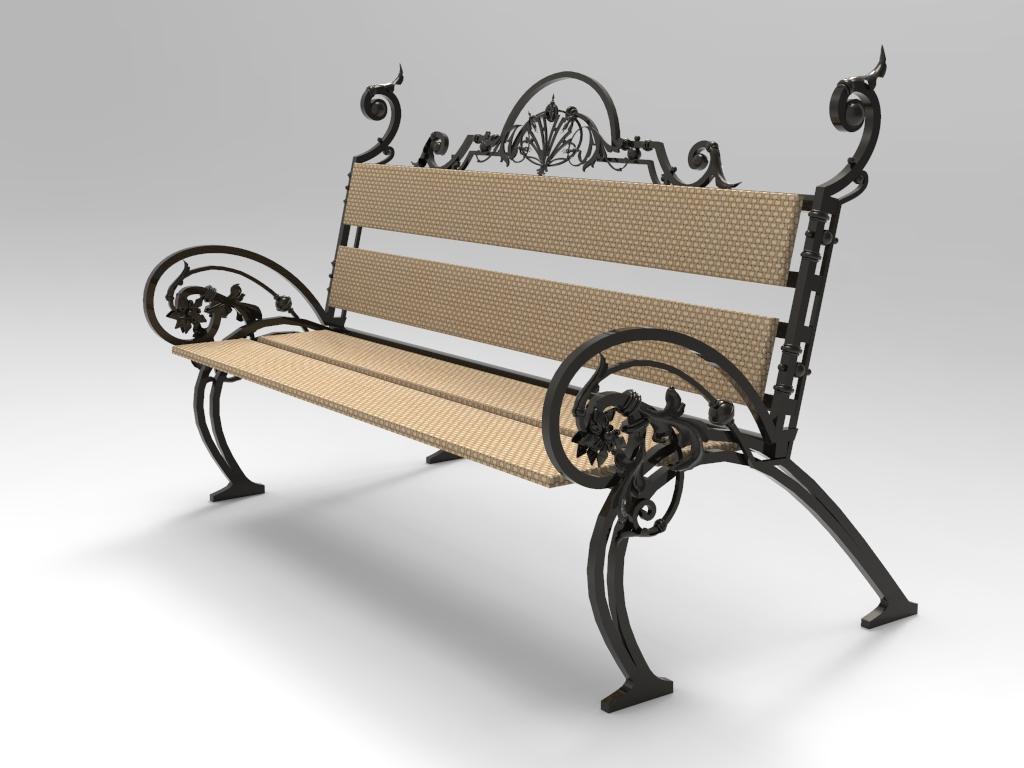 Фото Садово-парковая скамейка, эскиз и модель были выполнены по пожеоаниям заказчика, срок выполнения 3 дня.