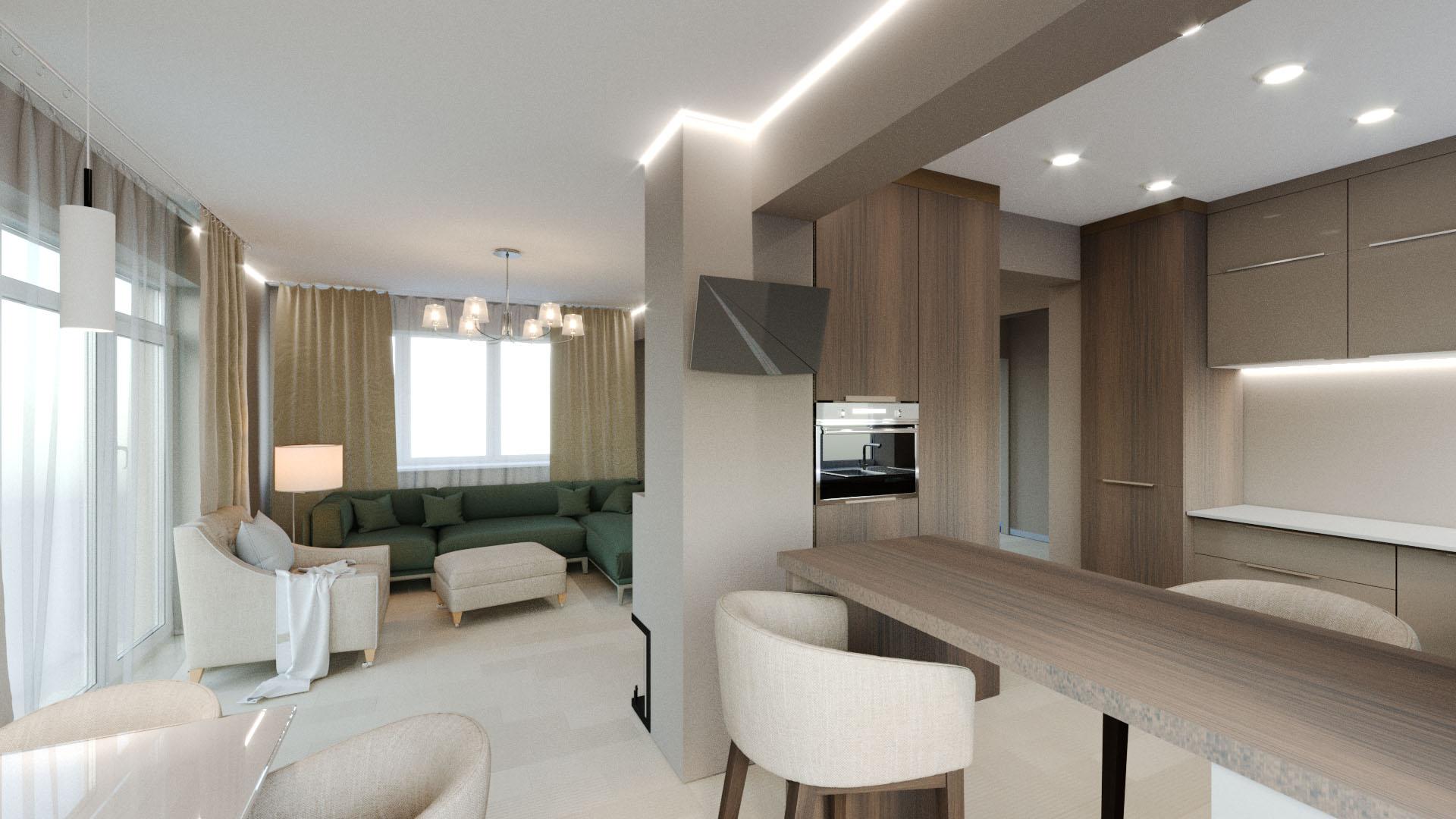 Фото Дизайн и визуализация гостиной и кухни частного дома