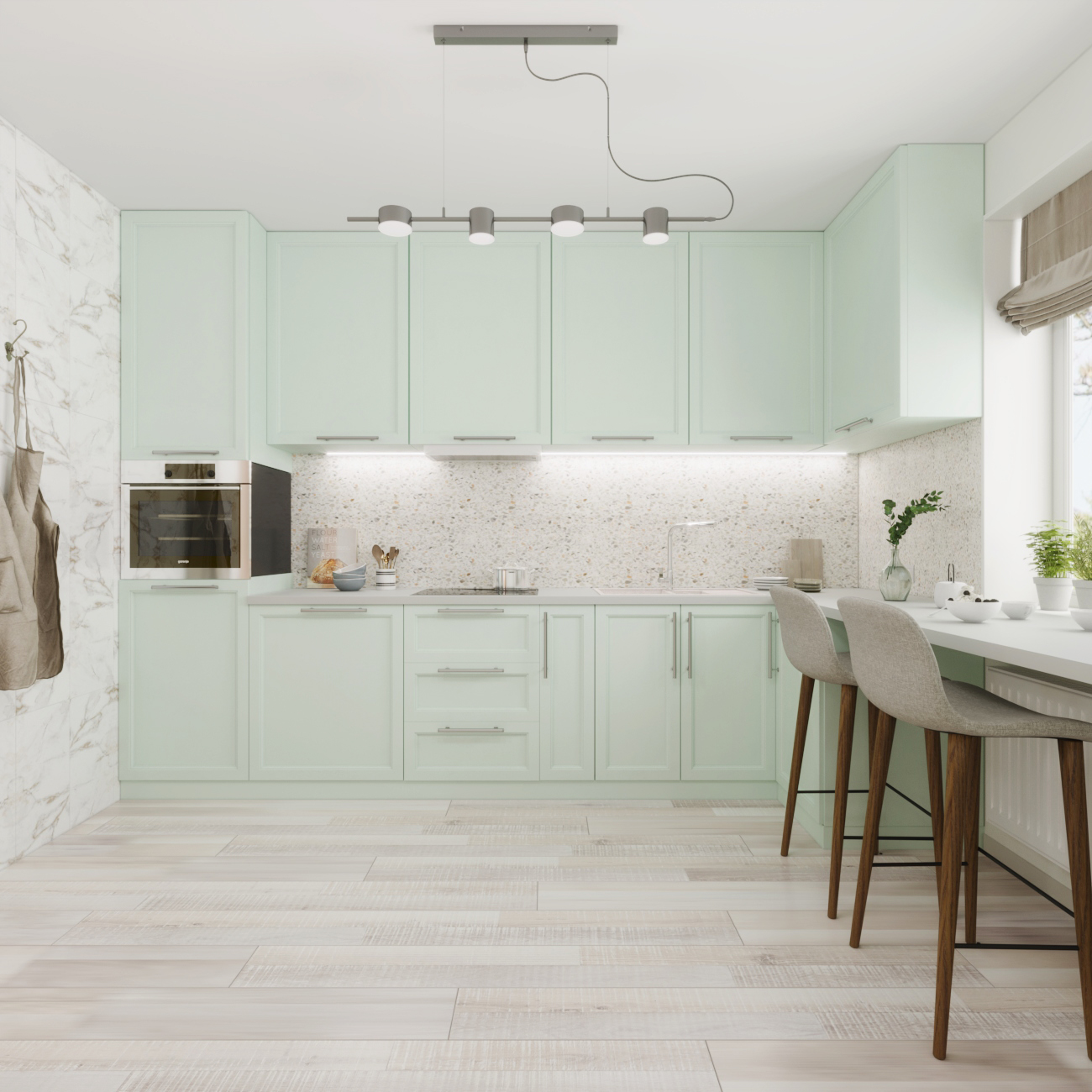 Фото Дизайн и визуализация интерьера кухни с использованием 3D max, Corona
