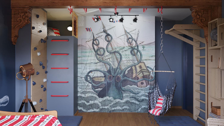 Фото Дизайн детской в пиратском стиле с отдельной зоной отдыха наверху