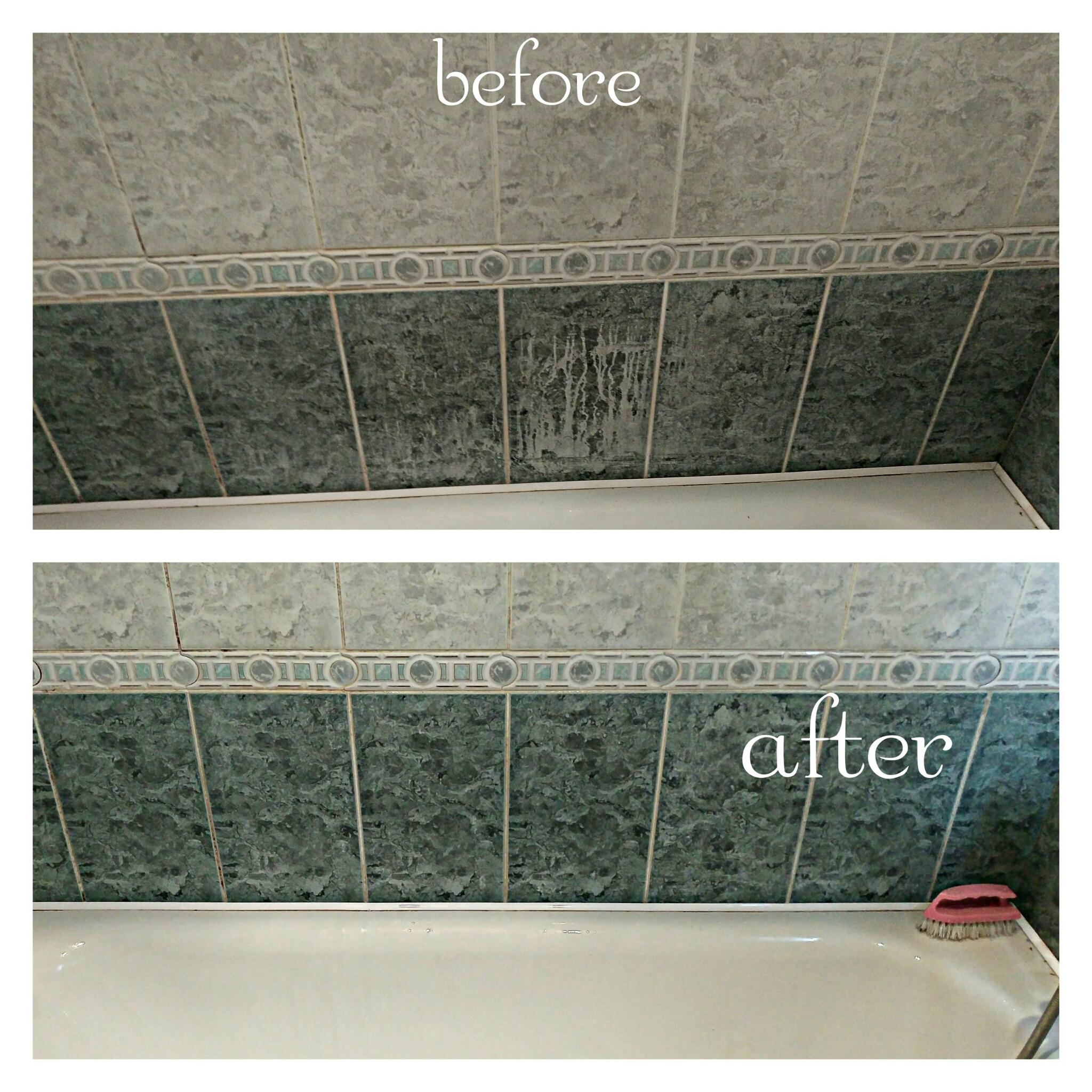 Фото Мытьё ванны и плитки . От водного камня и мыльного налета.