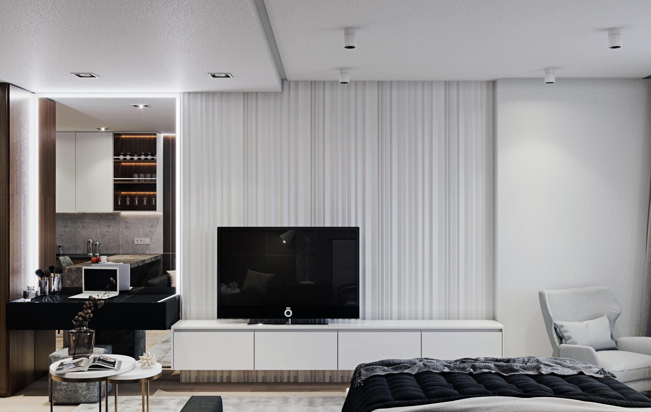 Фото Дизайн апартаментов, вид со стороны кровати
