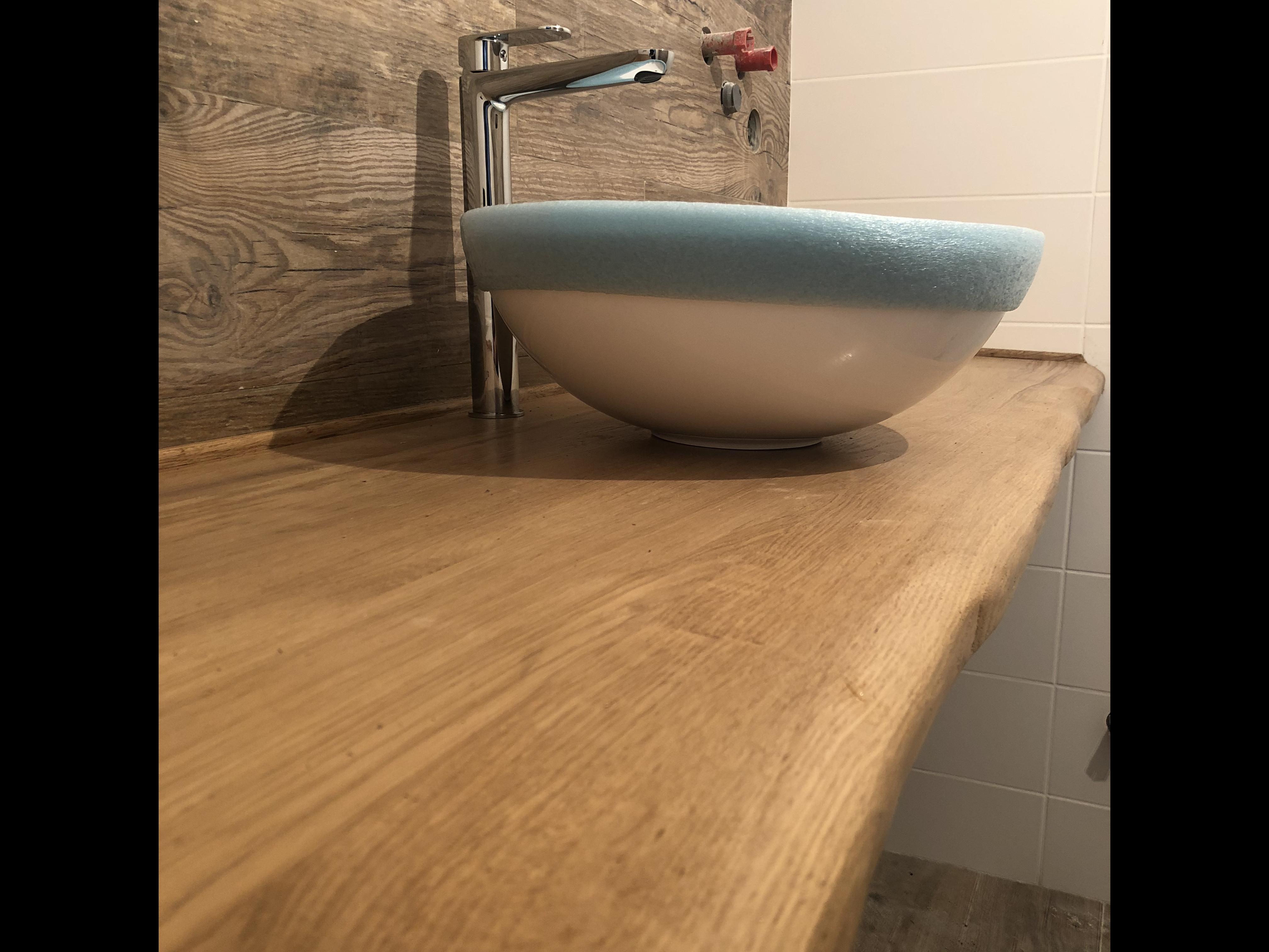 Фото  Изготовление Столешницы из массива дуба для ванной комнаты.