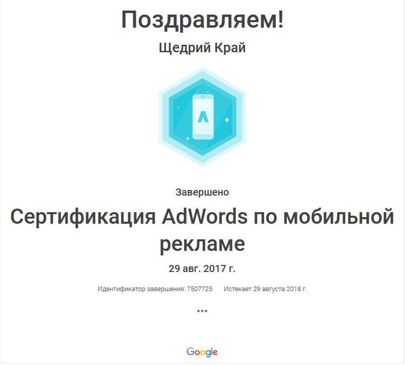 Фото Сертификация Google Adwords