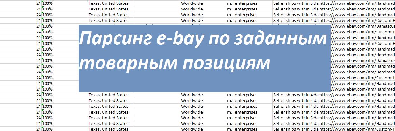 Фото Поиск товарных позиций на сайте e-bay, по заданным параметрам.