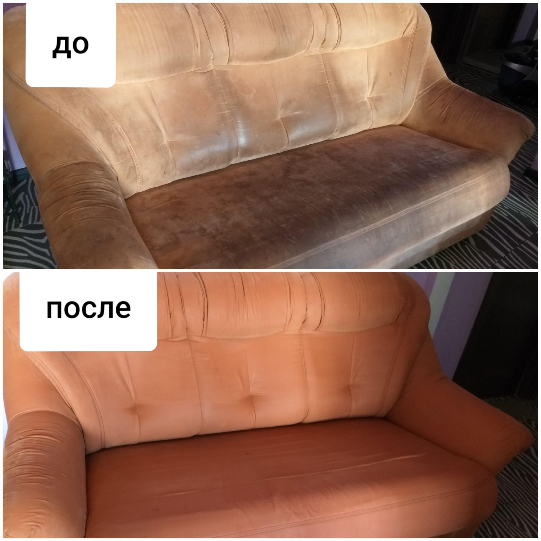 Фото Химчистка дивана , который не чистился 5 лет, большой объем работы, много грязи внутри дивана , результатом заказчики довольны