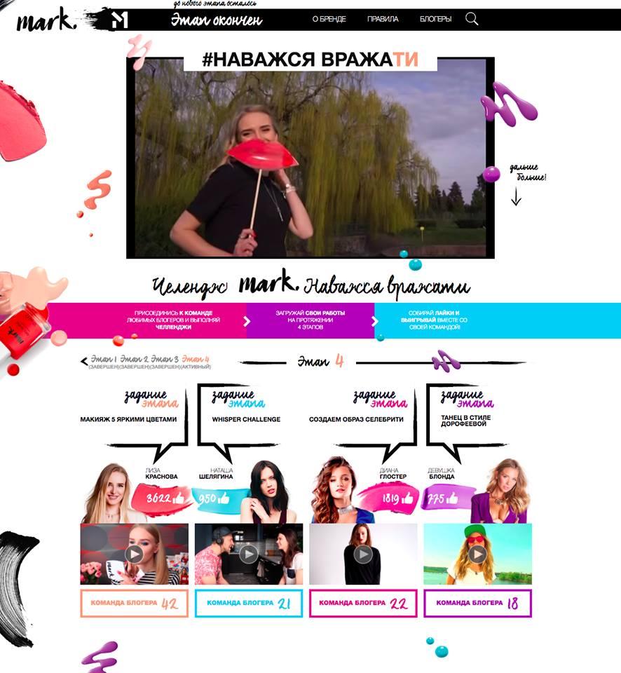 Фото Проект «Челлендж Mark. Наважся вражати» для Avon Ukraine company - яркий и динамичный сайт под спецпроект телеканала СТБ!