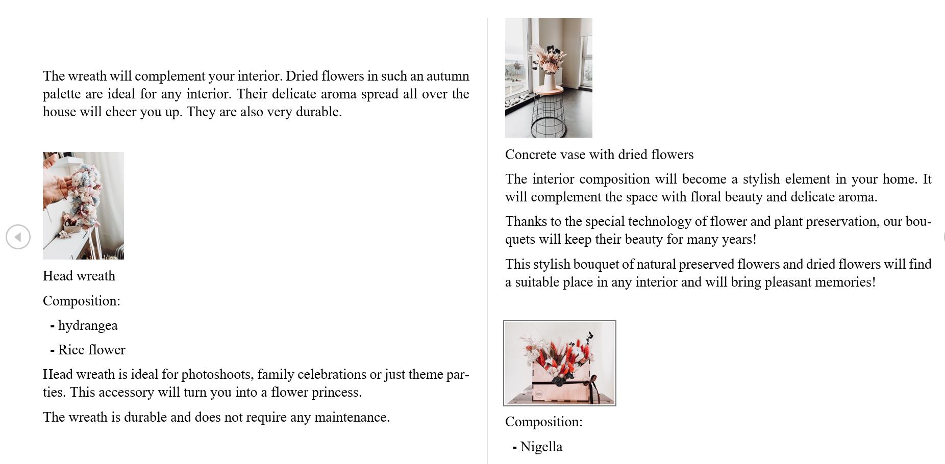 Фото Перевод (рус-англ) описания товаров онлайн-магазина флористики на иностранной площадке Etsy