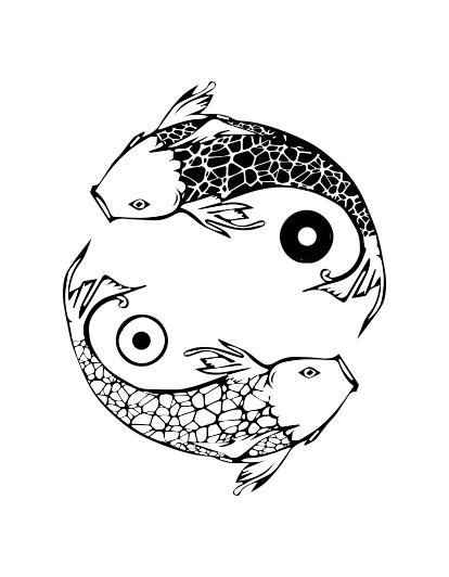 Фото Разработка логотипа для компании, которая занимается изготовлением и доставкой суши. Главным пожеланием, помимо воспроизведение карпов кои было также создание уникального паттерна, который после мог бы быть использован на упаковке.