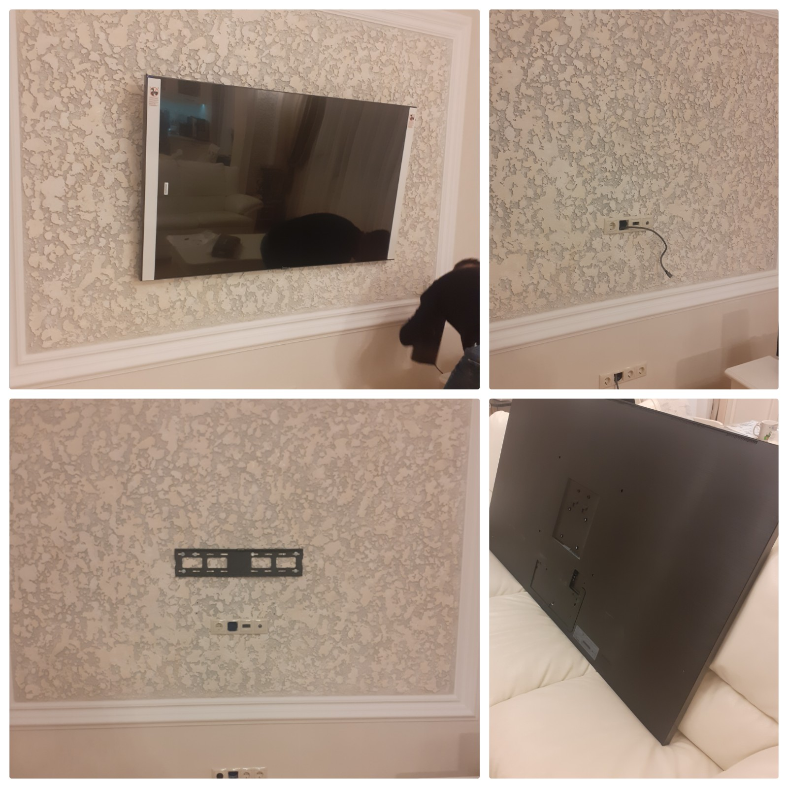 Фото 65 дюймов  телевизор Samsung  на стену из пеноблока