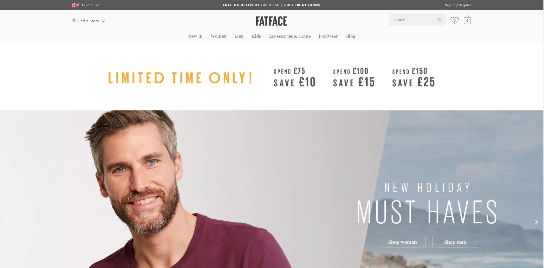 Фото Интернет магазин Fatface. Британская брендовая одежда. Командная разработка в IT-компании. https://www.fatface.com