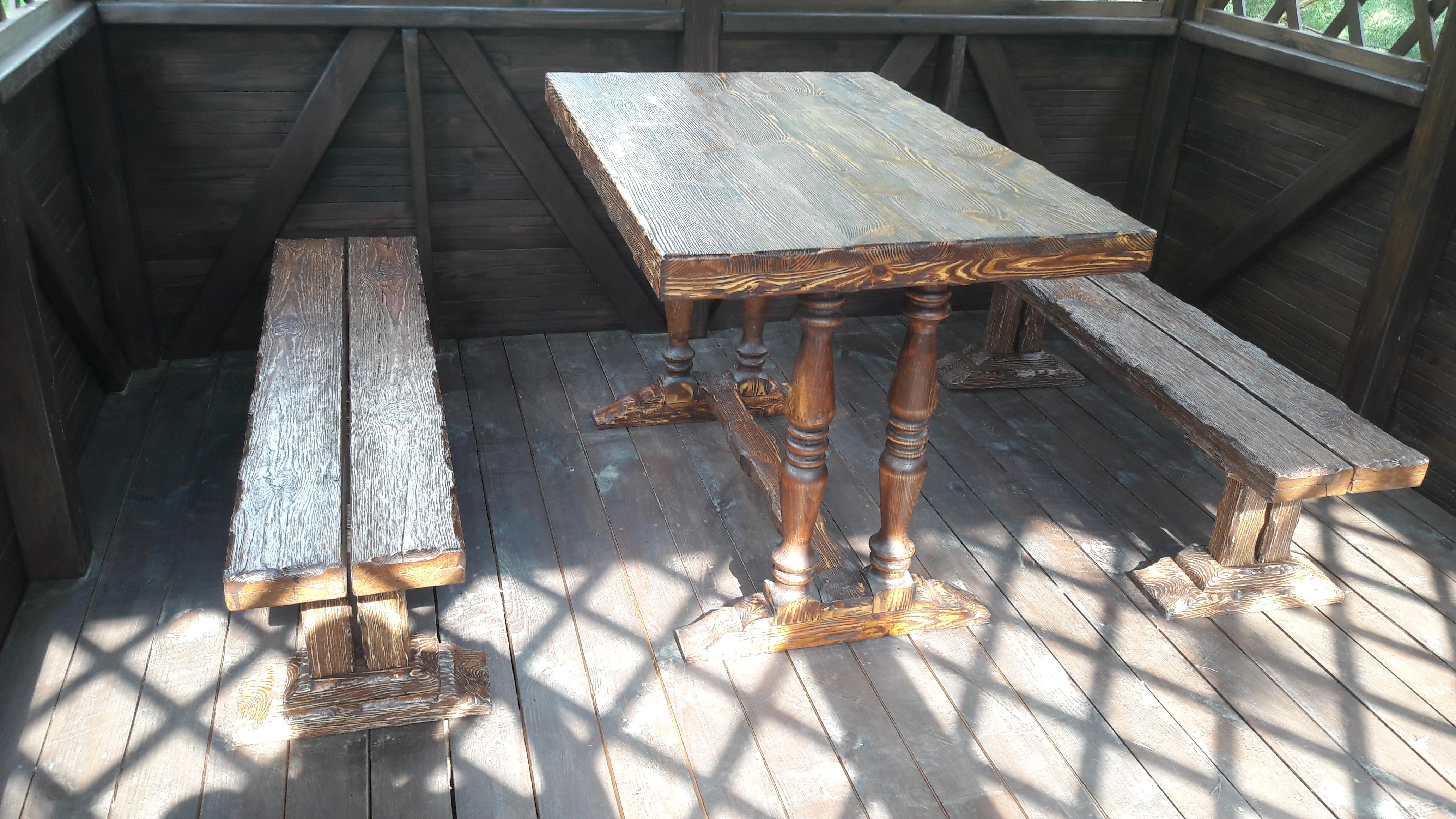 Фото Изготовление садовой мебели для беседок навесов и веранд из натуралной древесины под заказ.