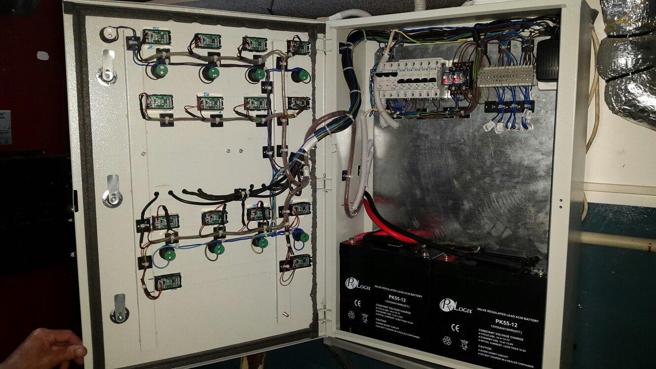 Фото Пульт управления твердотопливными котлами 50 и 80 кВт. С индикацией температур (на подаче обратки котлов, теплоаккумулятора и 4х контуров), работы насосов и вентиляторов розжига, с возможностью автономной работы (от аккумуляторов), в случае отключения электроэнергии в режиме затухания  (До)