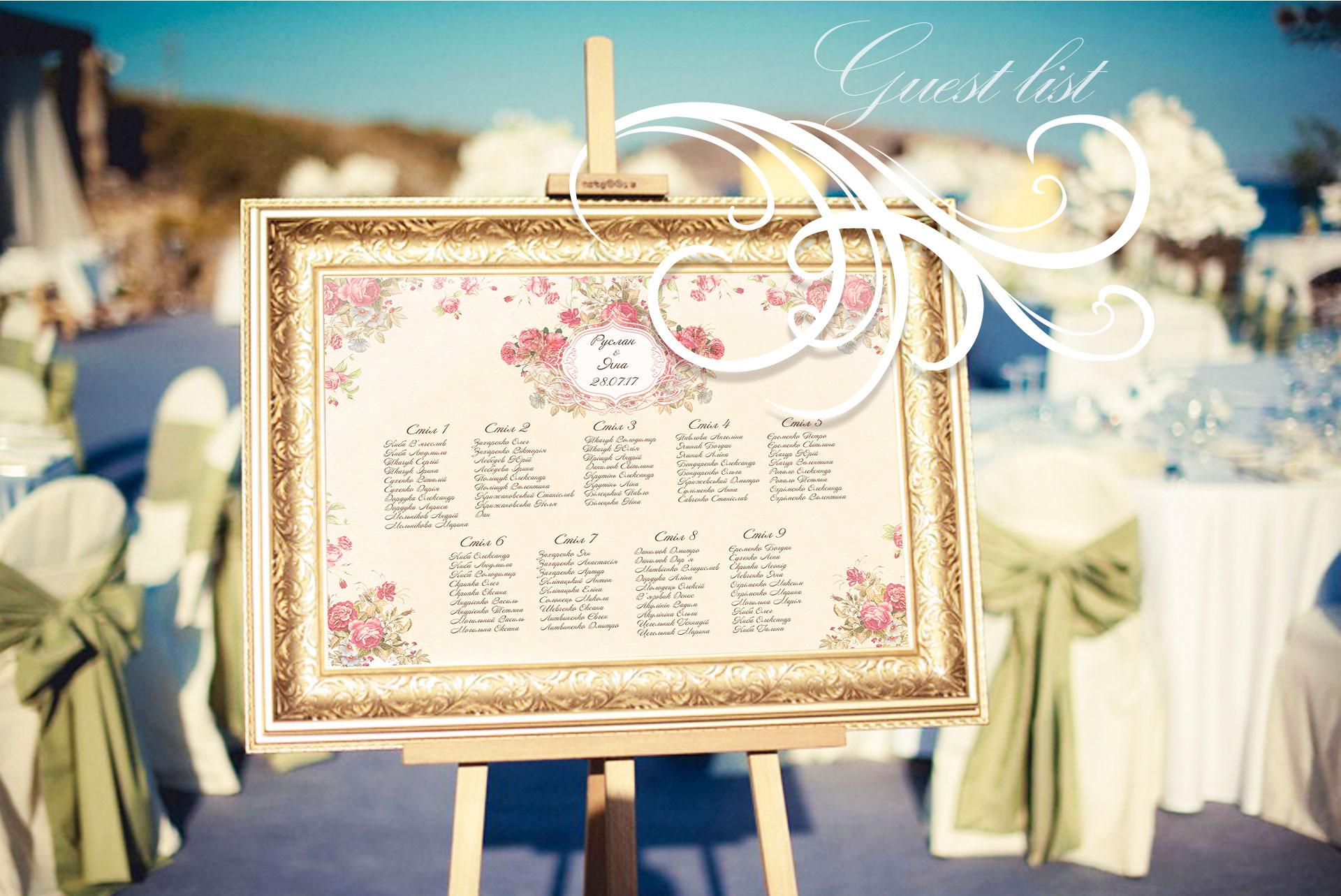 Фото список размещения гостей на свадебной церемонии