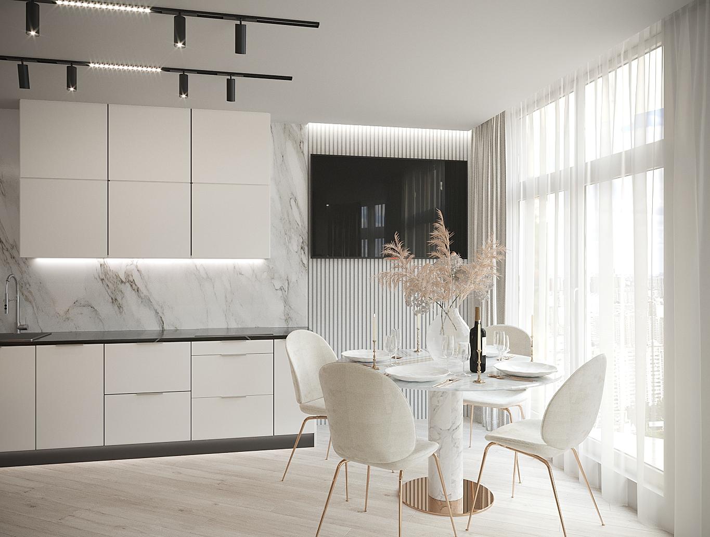 Фото Визуализация кухни-гостиной
