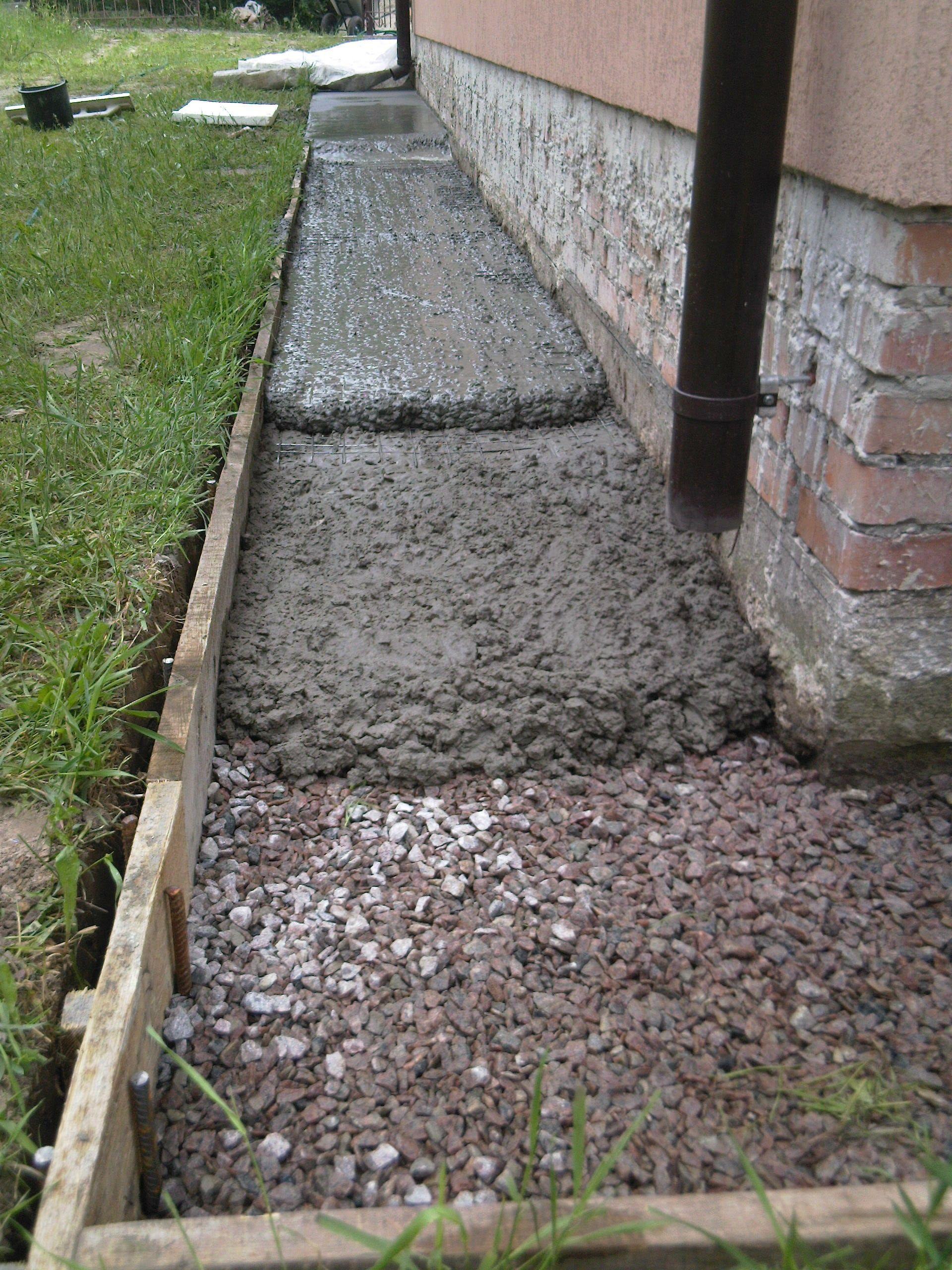 Фото Устройство отмостки из бетона вокруг дома.
