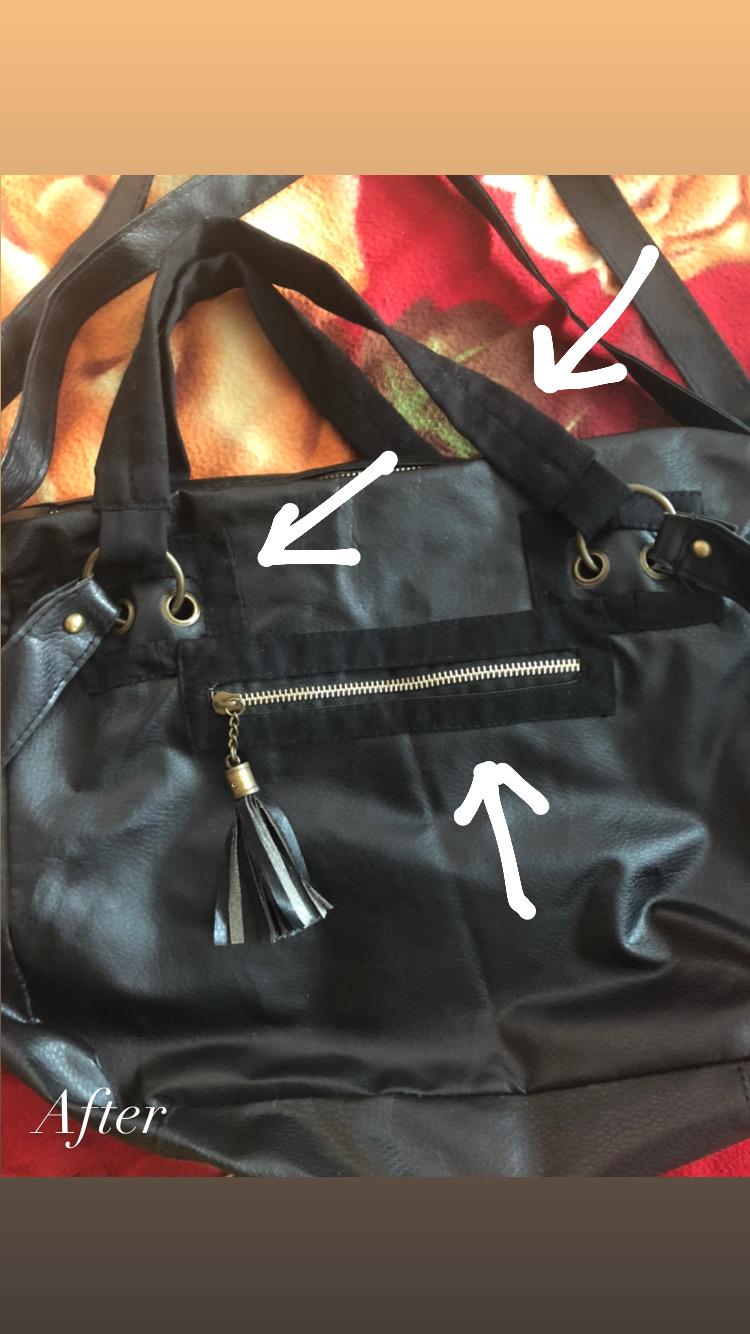 Фото Ремонт сумки из кожзама. Устранение дефектов нашивками из джинсовой ткани.