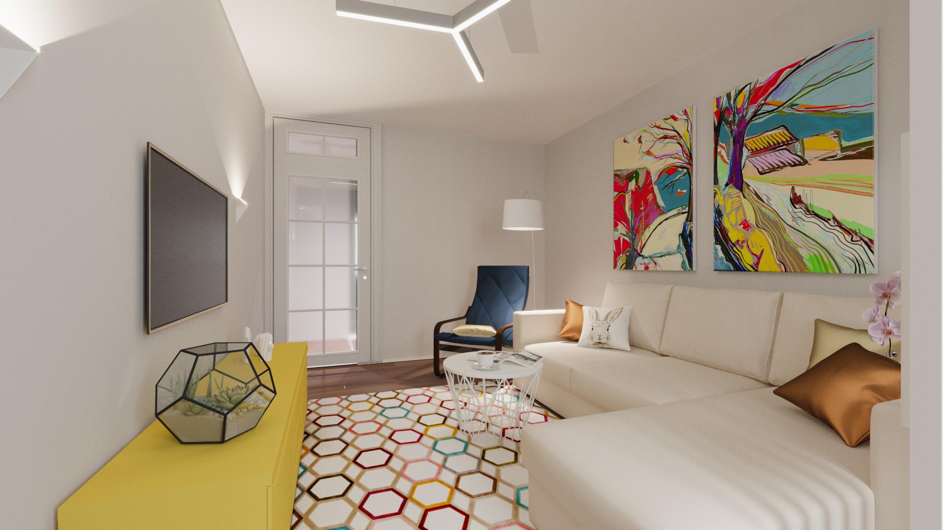 Фото Визуализация гостиной в рамках дизайн проекта. Квартира 54 кв.м
