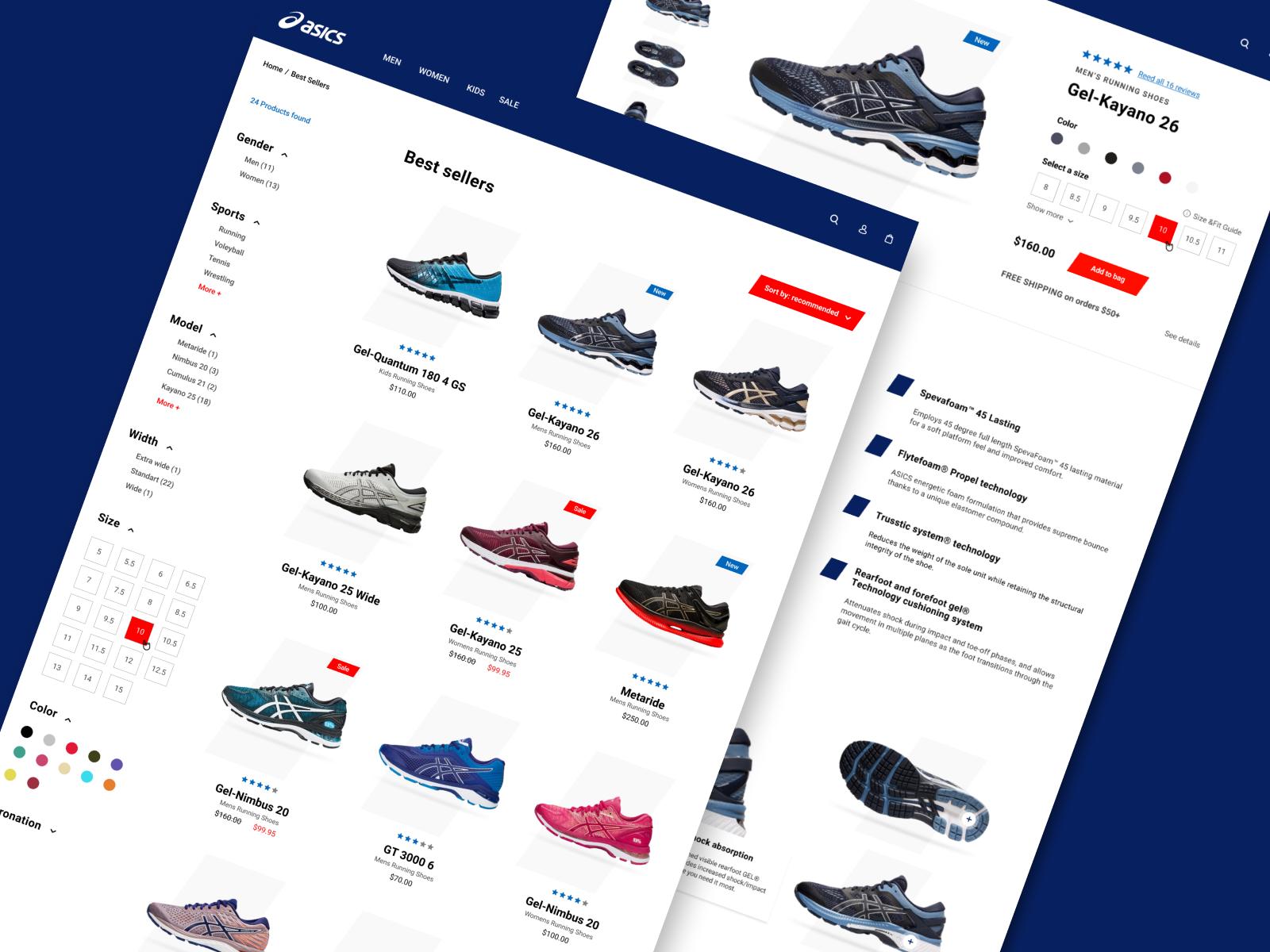 Фото Дизайн интернет-магазина кроссовок Asics. Страница каталога и страница товара.